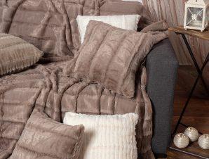 Γούνινο Ριχτάρι Πολυθρόνας (180×180) Silk Fashion Stripe Coffee