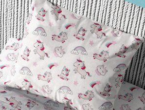 Μαξιλαροθήκη Dimcol Unicorn White-Pink 108