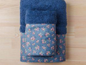 Πετσέτες Μπάνιου (Σετ 3τμχ) White Fabric Botanical Blue