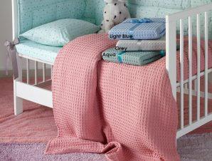Κουβέρτα Βρεφική Πικέ Patmos Light Blue Melinen Κούνιας