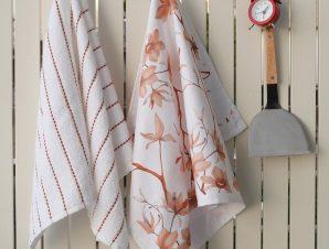 Πετσέτες Κουζίνας Σετ 2τμχ Floral White-Coral Melinen