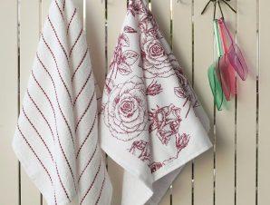 Πετσέτες Κουζίνας Σετ 2τμχ Rose White-Apple Melinen