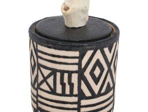 Βάζο Διακοσμητικό Με Καπάκι 19077 14x14x14cm Black-Beige 1-0040-00-006 Etiquette Κεραμικό