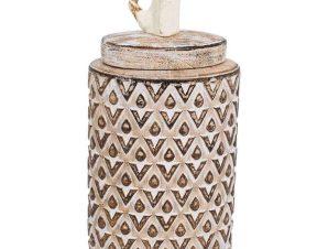 Βάζο Διακοσμητικό Με Καπάκι 19077 15.5×10.5×26.5cm Beige-Brown 1-0040-00-004 Etiquette Κεραμικό