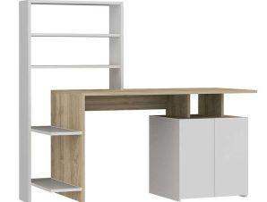 Γραφείο Με Ραφιέρα Melis 120-000082 146x60x129cm Sonoma-White