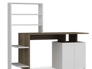 Γραφείο Με Ραφιέρα Melis 120-000001 146x60x129cm Brown-White