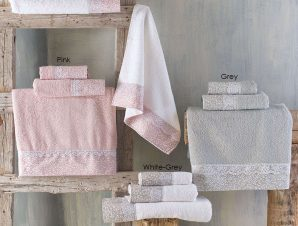 Πετσέτες Σετ 3τμχ Σε Κουτί Alena Grey Ρυθμός Σετ Πετσέτες 80x150cm