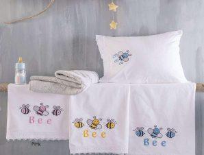 Σεντόνια Βρεφικά Σετ 3τμχ Honey Bee Yellow Ρυθμός Κούνιας 100x160cm