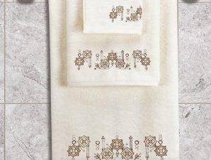 Πετσέτες Σετ 3τμχ Squares Ecru Sb Home Σετ Πετσέτες 70x140cm