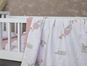 Κουβέρτα Βρεφική Bunny Love White-Pink Nima Κούνιας