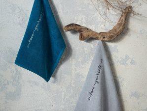 Λαβέτες Σετ 2τμχ Love Yourself Blue-Grey Nima Σετ Πετσέτες 40x40cm