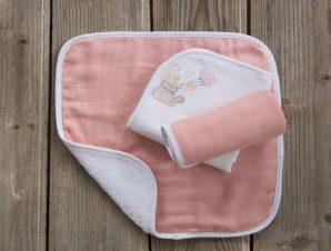 Πετσέτες Βρεφικές Bunny Love Σετ 3τμχ White-Salmon Nima Σετ Πετσέτες