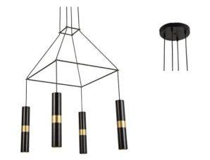 Φωτιστικό Οροφής HM854P56BK 4XGU10 56X56XH150 Black Aca Decor