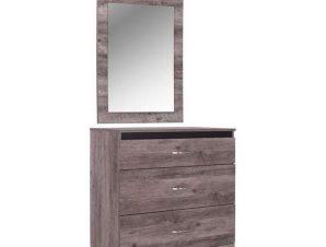 Συρταριέρα Με Καθρέπτη Jacintha HM10287 Σταχτί 80×45.5×81.5cm