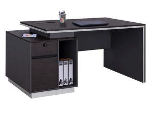 Γραφείο Επαγγελματικό Με Αριστερό Ντουλάπι Grey & Wenge Rosewood HM2087L 160X80X76Υ εκ.