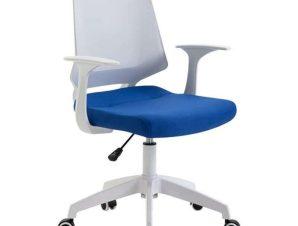 Πολυθρόνα Γραφείου ΒΣ1150-W White/Blue 62Χ54Χ92/102εκ. 01.0040