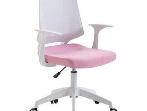 Πολυθρόνα Γραφείου ΒΣ1150-W White/Pink 62Χ54Χ92/102εκ. 01.0038