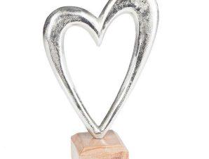 Διακοσμητική Επιτραπέζια Καρδιά Με Ξύλινη Βάση 3-70-357-0031 15X6X22 Silver Inart Ξύλο
