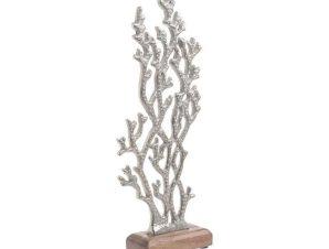 Διακοσμητικό Επιτραπέζιο 3-70-357-0109 Κοράλλι 13Χ5Χ33 Silver-Natural Inart Μέταλλο,Ξύλο