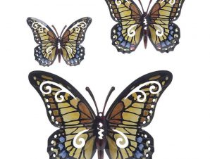 Διακοσμητικό Επιτοίχιο 3-70-148-0040 Πεταλούδες Σετ 3τμχ 35Χ2Χ32 Multi Inart Μέταλλο
