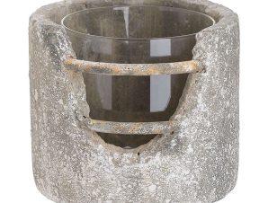 Κηροπήγιο 3-70-507-0293 Grey Δ16X14 Inart Κεραμικό