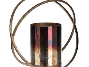 Κηροπήγιο 3-70-764-0008 Black-Gold 29X13X28 Inart Μέταλλο,Γυαλί