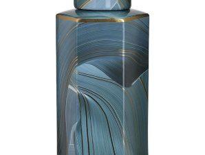 Βάζο Κεραμικό 3-70-902-0139 16Χ14Χ32 Blue Inart Κεραμικό