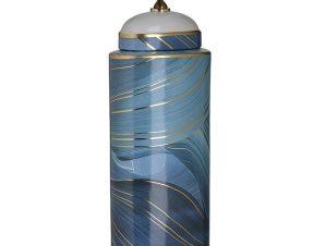 Βάζο Κεραμικό 3-70-902-0141 15Χ10Χ44 Blue-Gold Inart Κεραμικό