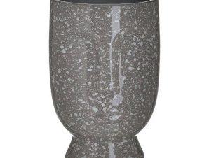 Βάζο Κεραμικό 3-70-685-0242 Πρόσωπο 15X23 Antique Grey Inart Κεραμικό