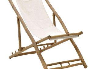 Καρέκλα Παραλίας Πτυσσόμενη 3-50-236-0006 112Χ60Χ80cm White-Natural Inart