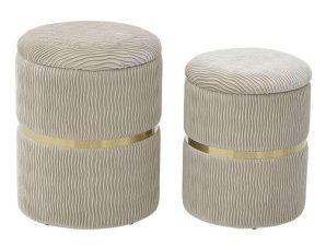 Σκαμπό Με Αποθηκευτικό Χώρο Σετ 2Τμχ 3-50-512-0032 Δ36Χ44cm Cream Inart