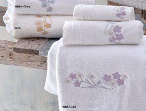 Πετσέτες Jolie Σετ 3τμχ White-Grey Ρυθμός Σετ Πετσέτες