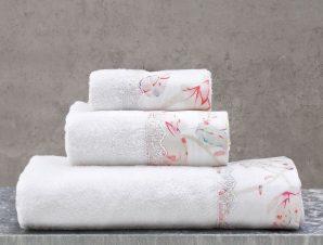 Πετσέτες Mangolia Σετ 3τμχ Σε Κουτί White-Pink Ρυθμός Σετ Πετσέτες