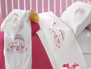 Σεντόνια Βρεφικά Σετ 3τμχ Με Κέντημα Cake Pink Ρυθμός Κούνιας