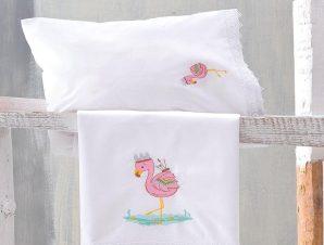 Σεντόνια Βρεφικά Σετ 3τμχ Με Κέντημα Flamingo Multi Ρυθμός Κούνιας