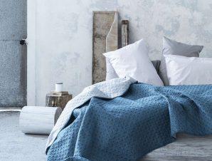 Κουβερλί Rombo – Aegean Blue-Silver Gray Nima Υπέρδιπλo 220x240cm