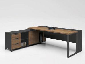 Γραφείο Proline Αναστρέψιμο Dark Wallnut/Black ΕΟ919 160×70/160×40 (H.75)cm