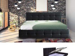 Κρεβάτι Με Αποθηκευτικό Χώρο Διπλό Fidel Ε8053Α 168x215x107/160x200cm Black Διπλό