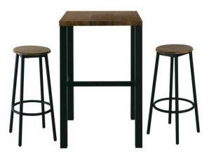 Τραπέζι Bar Με Δύο Σκαμπό Σετ 3Τμχ Mayer ΕΜ9798,S Τρ.60x60x100/Φ30cm H.75cm Anthracite-Antique Brown