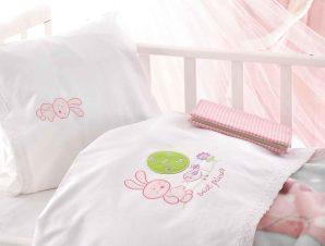 Σεντόνια Βρεφικά Σετ Sweet Summer White – Pink Ρυθμός Κούνιας 100x160cm