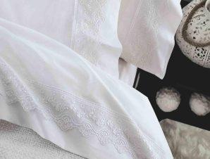 Σεντόνια Σετ με Δαντέλα Nena White Ρυθμός Υπέρδιπλo 230x260cm